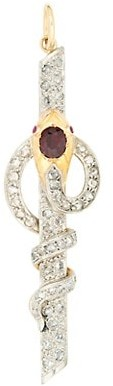Stephanie Windsor Victorian Platinum, 18K Yellow Gold, Diamond & Ruby Hermes Staff Charm