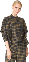 Robert Rodriguez Plaid Ruffled Detail Blouse