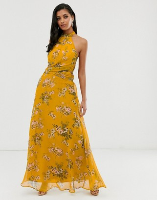 ASOS DESIGN maxi dress with high neck and drape waist detail in mustard floral
