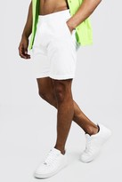 boohoo Mens White Skinny Fit Chino Short In Mid Length, White