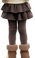 LANROON Girl's Cute Cotton Strentchy Ruffle Leggings Skirt, Brown,Thin for Fall