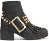 Burberry Studded Coated-leather Ankle Boots - Black
