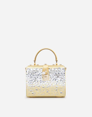 Dolce & Gabbana Satin Dolce Box Bag With Bejeweled Embroidery