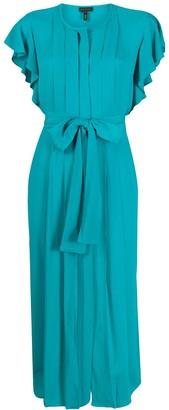 Escada ruffled-sleeve pleated dress