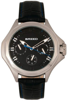 Breed Quartz Tempe Black And Silver Genuine Leather Watches 43mm