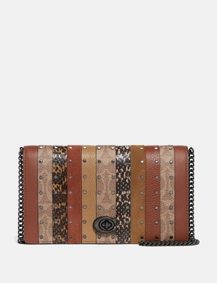 Coach Callie Foldover Chain Clutch With Signature Canvas Patchwork Stripes And Snakeskin Detail