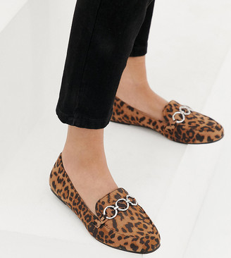 New Look Wide Fit hardware loafer in leopard