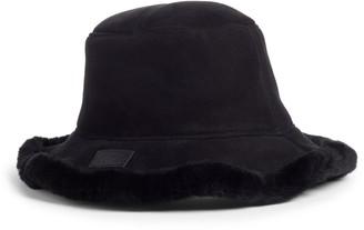 UGG Genuine Shearling Trim Bucket Hat