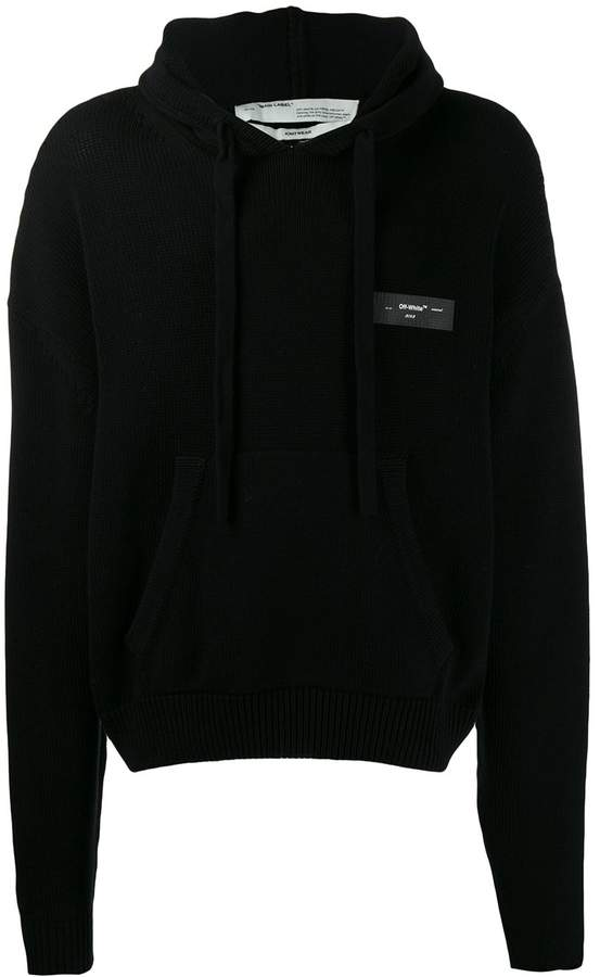 Off-White knitted logo hoodie