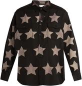 Saint Laurent Star-print cotton-blend shirt