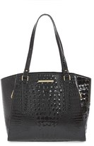 Brahmin 'Paris' Croc Embossed Leather Tote - Black