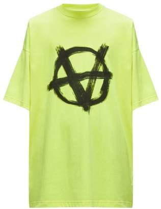 Vetements Anarchy-print Cotton T-shirt - Mens - Yellow