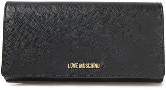 Love Moschino Logo-embellished Metallic Faux Leather Wallet