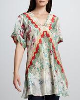 Johnny Was Collection Biya Flower-Print Silk Tunic, Women's