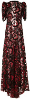 Marc Jacobs Burgundy Embroidered Lace Boatneck Gown