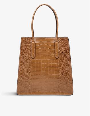Smythson Mara crocodile-embossed leather snap tote bag