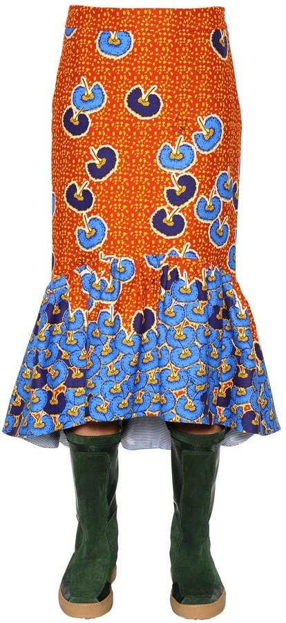 Stella Jean Ruffled Printed Cotton Twill Midi Skirt