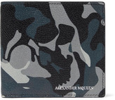 Alexander McQueen Camouflage-print Pebble-grain Leather Billfold Wallet - Blue