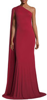 Naeem Khan One-Shoulder Cape Gown, Red