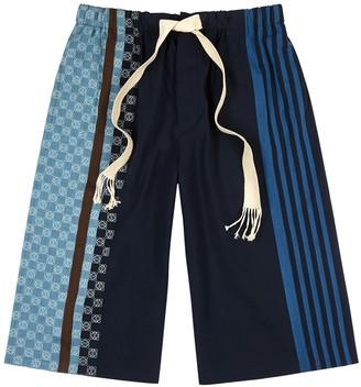 Loewe Navy printed cotton shorts