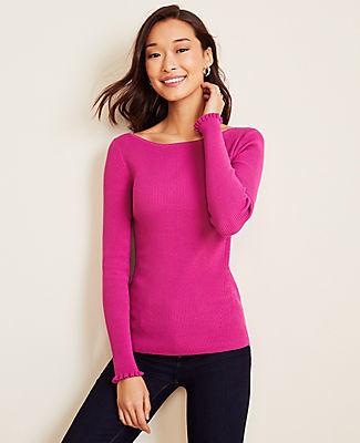 Ann Taylor Petite Seasonless Yarn Boatneck Perfect Pullover