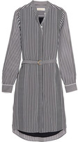 MICHAEL Michael Kors Corsican Striped Chiffon Shirt Dress - Black