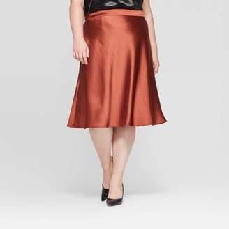 Ava & Viv Women's Plus Size Satin Midi Skirt - Ava & VivTM