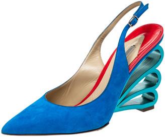 Nicholas Kirkwood Blue Suede 'Wave Heel' Pointed Toe Slingback Sandals Size 38