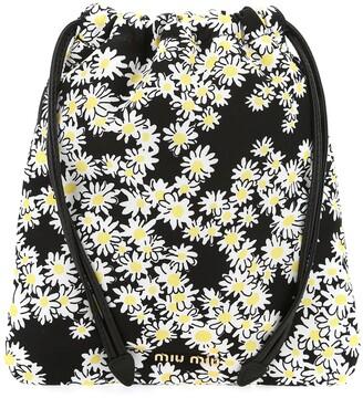 Miu Miu Daisy Print Drawstring Bag