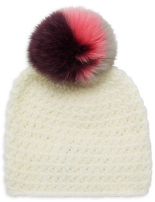 Surell Star Fox Fur-Trim Knit Beanie