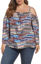 Vince Camuto Plus Size Women's Herringbone Muses Off The Shoulder Top