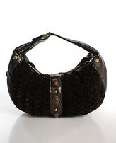Cole Haan Brown Woven Velvet Leather Contrast Small Hobo Handbag