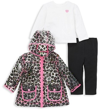 Little Me Baby Girl's 3-Piece Floral Rain Jacket, Top Leggings Set