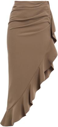 GOEN.J Asymmetric Ruffle-trimmed Stretch-crepe Midi Skirt