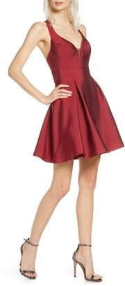 Sequin Hearts Mikado Fit & Flare Dress