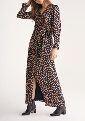 Paisie Petal Print Maxi Wrap Dress in Navy Petal Print