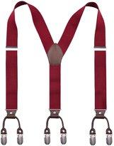 Alizeebridal Men's 3.5cm Elastic Band Genuine Leather Suspenders 6 Clips