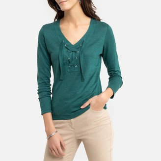 Anne Weyburn Linen Tied V-Neck T-Shirt with Long Sleeves