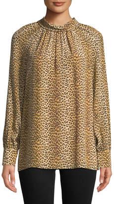 Ramy Brook Leopard-Print Tie-Neck Silk Long-Sleeve Top