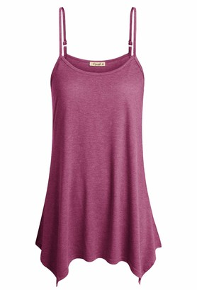 Cyanstyle SleevelessTops for Women Sexy Crew Neck Casual Stretchy Cute Summer Fashion TunicTees Adjustable Spaghetti Strap Cotton Lightweight Tank Camis Green Rose Red S