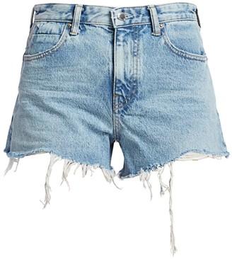 Alexander Wang Bite Back Zipper Frayed Denim Shorts