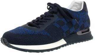 Louis Vuitton Blue/Black Damier Mesh and Leather Run Away Lace Sneakers Size 40.5