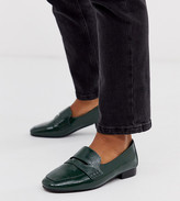 Asos Design DESIGN Wide Fit Membership loafer flat shoes in green