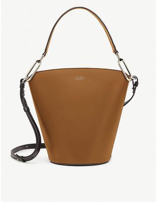 Smythson Equestrian saddle leather bucket bag