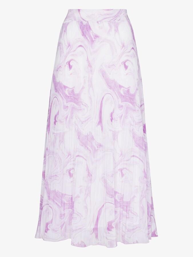 Thumbnail for your product : Ganni Purple Pleated Print Midi Skirt