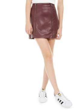 Love, Fire Juniors' Faux-Leather Zipper Mini Skirt