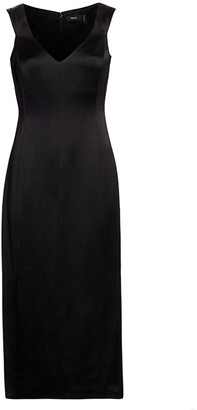 Theory Deep V-Neck Off-the-Shoulder Wool Sheath Dress