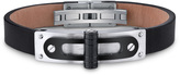 Ice Stainless Steel and Leather Bracelet with Black Hinge and Rivet Accents