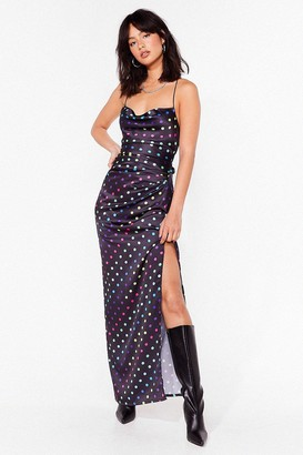 Nasty Gal Womens Dot to Get It Satin Maxi Dress - Black - 4