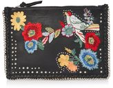 Leather embroidered cross body bag
